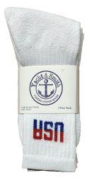 48 pairs of Yacht & Smith Women's Usa American Flag Crew Socks, Size 9-11 White