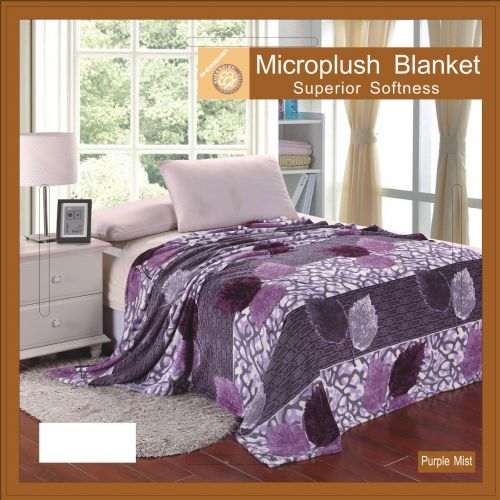 12 pieces of Flower Print Blankets Queen Size Purple Mist