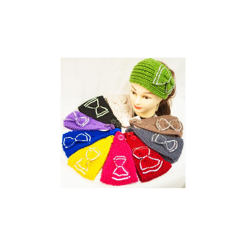 12 pieces of Knit Flower Headband Simple Design Rhinestone Bowtie