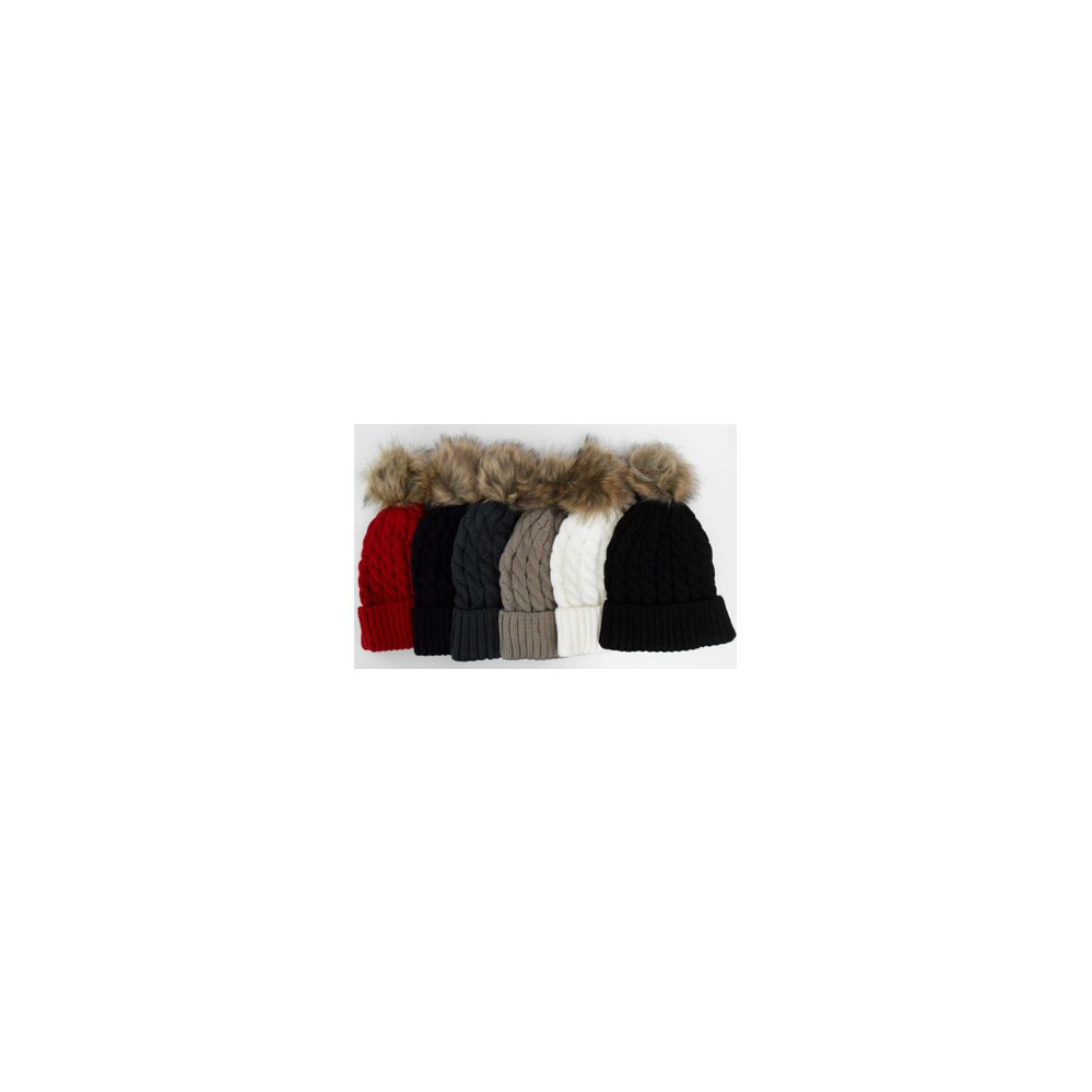 648536f180e 48 Pack of Ski Hat w. Fur Pom Pom