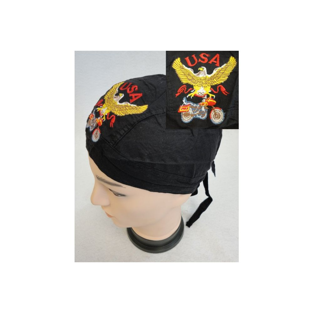 72 pieces of Embroidered Skull Cap [eagle With Bike]