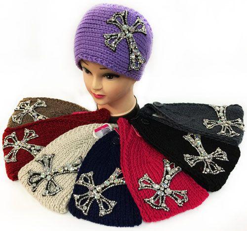 12 pieces of Large Rhinestone Cross Design Knitted Headband