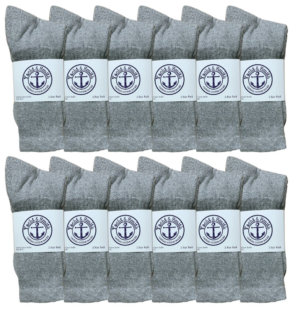 36 pairs of Yacht & Smith Women's Cotton Crew Socks Gray Size 9-11 Bulk Pack