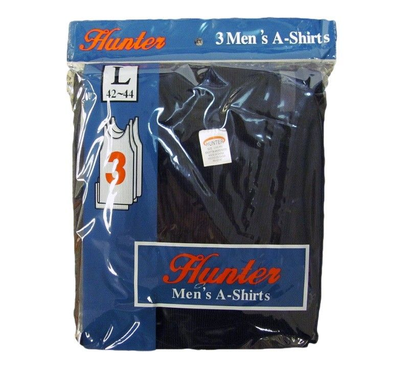 72 pieces of Mens Cotton A Shirt Undershirt Solid Black Assorted Sizes
