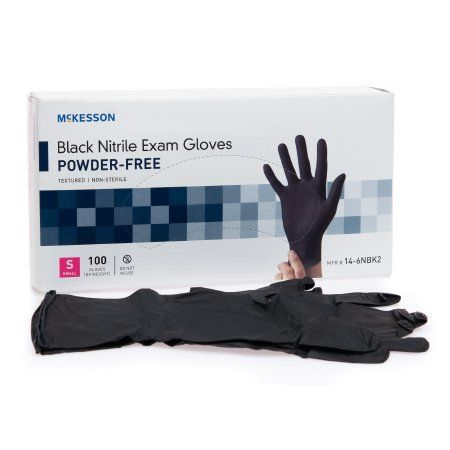 1000 pieces of Black Nitrile Exam Gloves Textured Non Sterile Size Small