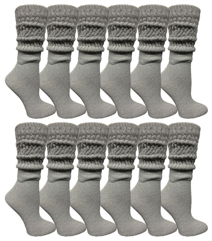 24 pairs of Yacht & Smith Womens Heavy Cotton Slouch Socks, Solid Heather Gray