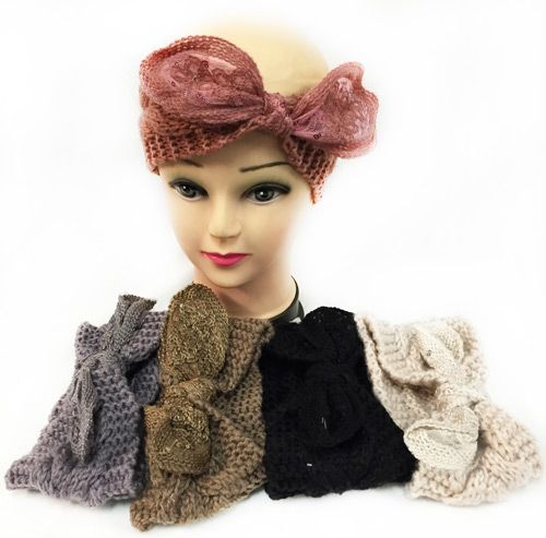 12 pieces of Knitted Headbands With Bendable Bow Assorted