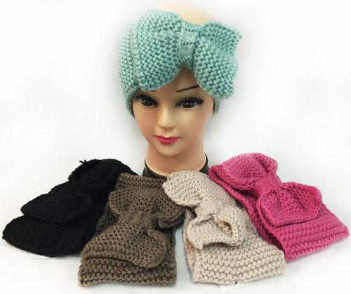 12 pieces of Knitted Large Bow Solid Color Headbands Assorted