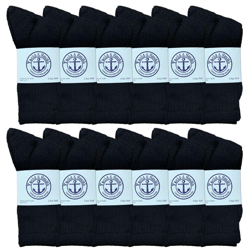 84 pairs of Yacht & Smith Women's Cotton Crew Socks Black Size 9-11 Bulk Pack