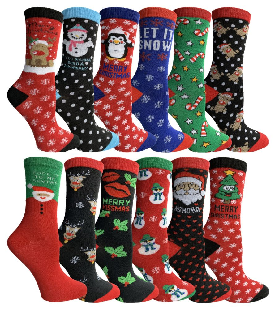 48 pairs of Yacht & Smith Christmas Holiday Socks, Sock Size 9-11