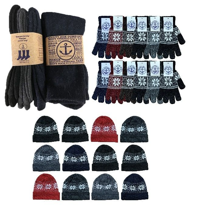 180 pieces of Yacht & Smith Mens 3 Piece Winter Care Set, Fleece Hat, Thermal Sock, Snow Flake Glove