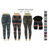 36 Pack of Womans Printed Leggings With Fur Lining