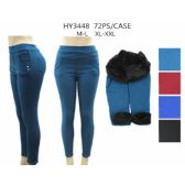 36 Pack of Womans Assorted Color Leggings With Fur Lining